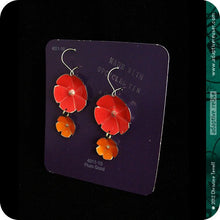 Load image into Gallery viewer, Red & Persimmon Orange Double Flower Ethical Tin Earrings 30th Birthday Gift