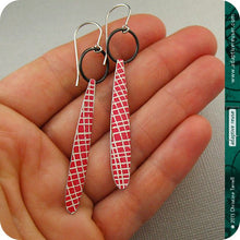 Load image into Gallery viewer, Red Picnic Blanket Upcycled Tin Teardrop Earrings