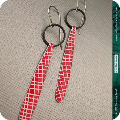 Red Picnic Blanket Upcycled Tin Teardrop Earrings