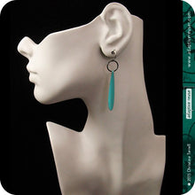 Load image into Gallery viewer, Blue Dot Pattern Long Teardrops Upcycled Tin Earrings