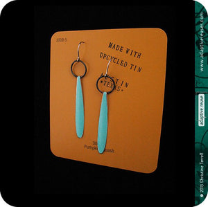 Cool Aqua Sea Long Teardrops Upcycled Tin Earrings