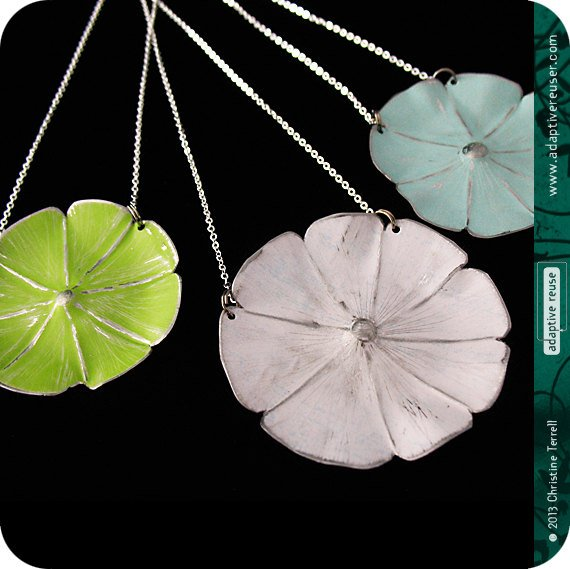 Gelato Colors Upcycled Tin Flower Necklace