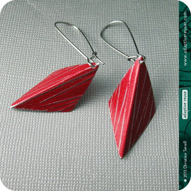 Red Silver Line Harlequins Upcycled Tin Earrings Tin Anniversary Gift