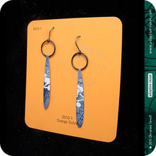 Load image into Gallery viewer, Blue Jean Cherry Blossom Teardrop Tin Earrings