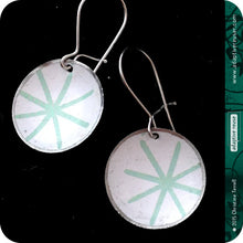 Load image into Gallery viewer, Pale Aqua Asterisks Upcycled Tiny Dot Earrings 20th Birthday Gift