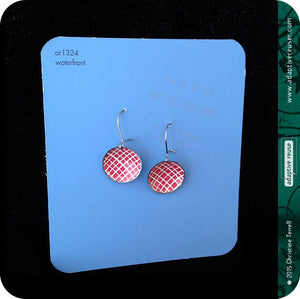 Etched Silver Heart on Red Tiny Dot Tin Earrings