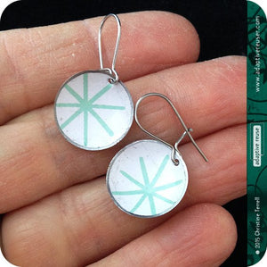Pale Aqua Asterisks Upcycled Tiny Dot Earrings 20th Birthday Gift