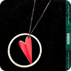 Heart Ring Pendant Upcycled Tin Necklace 30th Birthday Gift