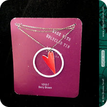 Load image into Gallery viewer, Heart Ring Pendant Upcycled Tin Necklace 30th Birthday Gift