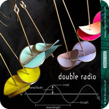 Load image into Gallery viewer, Bright Aqua & Red Radio Waves Zero Waste Tin Earrings