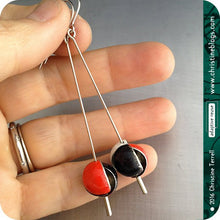 Load image into Gallery viewer, Red, Black & White Tiny Sphere Zero Waste Tin Earrings