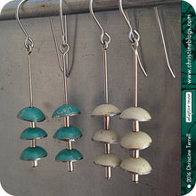Load image into Gallery viewer, Turquiose Zen Chimes Upcycled Tin Earrings by Christine Terrell for adaptive reuse jewelry