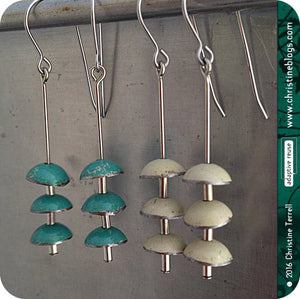 Turquiose Zen Chimes Upcycled Tin Earrings by Christine Terrell for adaptive reuse jewelry