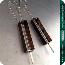 Load image into Gallery viewer, Black Rectangle Outline Zero Waste Tin Earrings