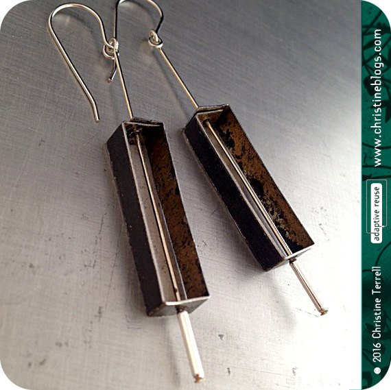 Black Rectangle Outline Zero Waste Tin Earrings