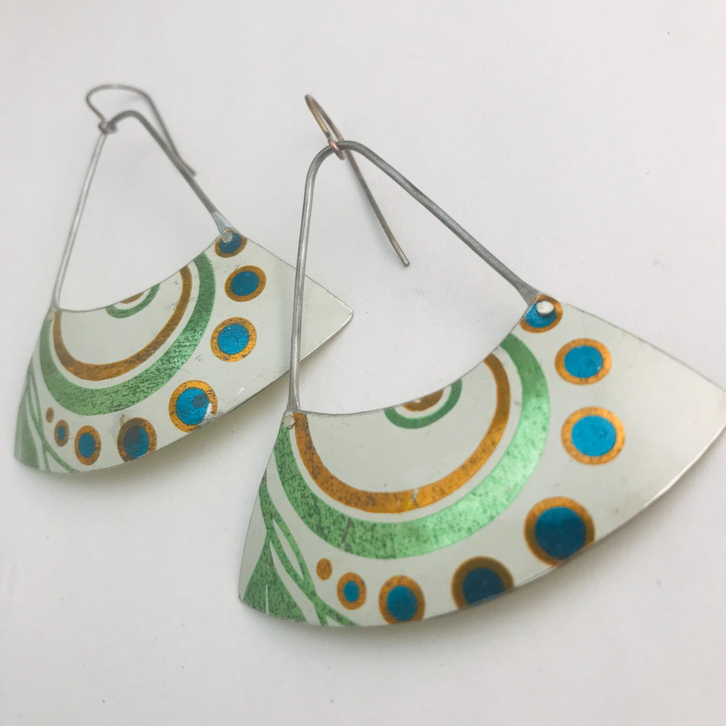 Vintage Swirls Recycled Tin Earrings Tin Anniversary Gift