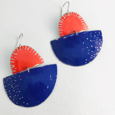 Purple and Bright Red Boats Upcycled Tin Earrings