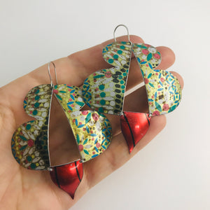 Vintage Mosaic & Scarlet Abstract Butterflies Upcycled Tin Earrings