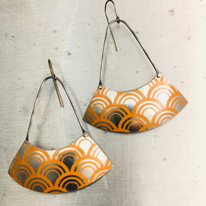 Dreamsicle Arch Pattern Large Fan Recycled Tin Earrings Tin Anniversary Gift