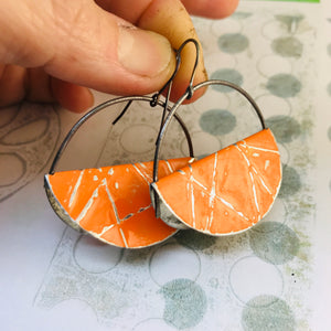 Persimmon Half Moon Saddle Zero Waste Tin Earrings