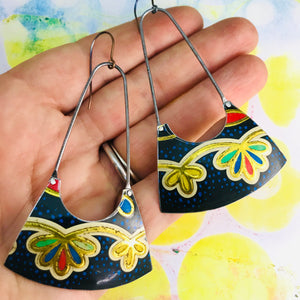 Golden Blossoms on Speckled Black Recycled Tin Earrings