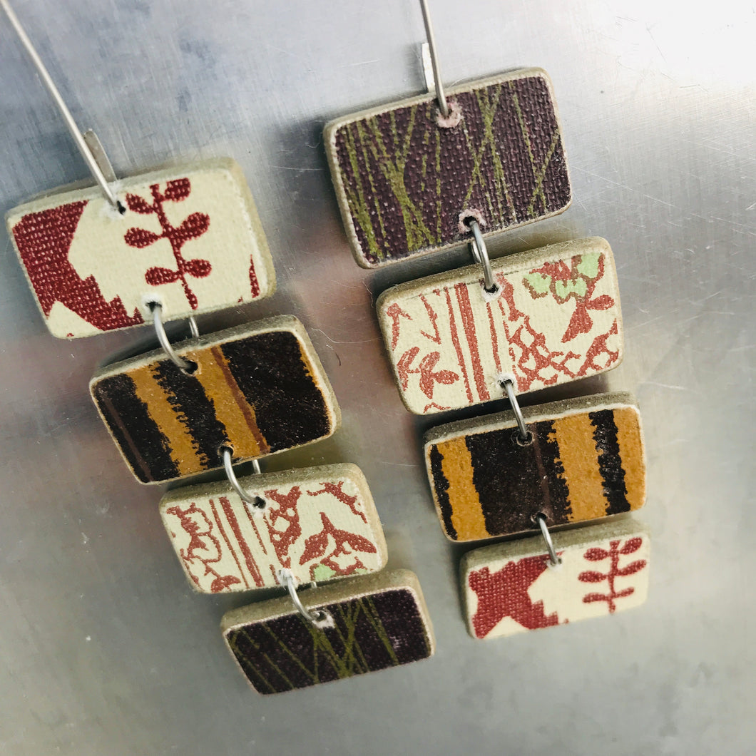 Mixed Cinnamon & Chocolate Rectangles Recycled Book Cover Earrings