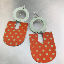 Load image into Gallery viewer, Orange & Pale Celadon Chunky Horseshoes Zero Waste Tin Earrings