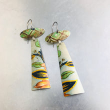 Load image into Gallery viewer, Vintage Green Patterns Zero Waste Earrings Ethical Jewelry by adaptive reuse jewelry