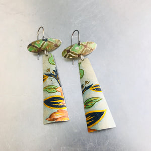 Vintage Green Patterns Zero Waste Earrings Ethical Jewelry by adaptive reuse jewelry