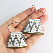 Load image into Gallery viewer, Zig Zag Gray & White Zero Waste Tin Earrings