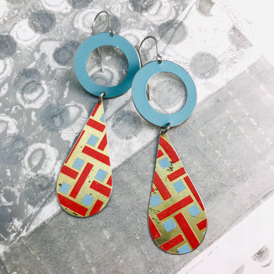Vintage Blue & Red Lattice Long Tin Teardrops Earrings