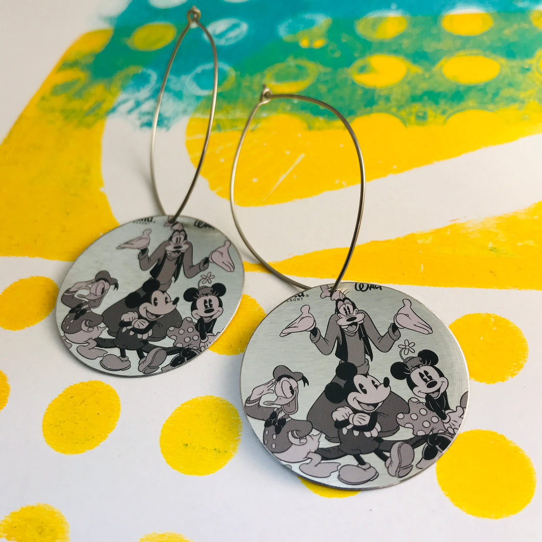 Micky & Friends Big Circle Tin Earrings