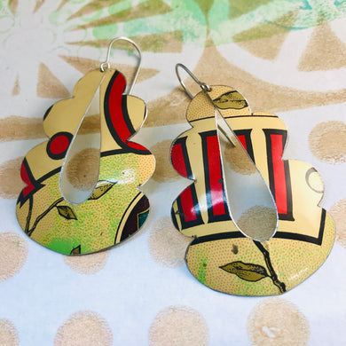 Ecru & Red Wavy Upcycled Tin Earrings