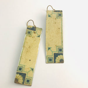 Delft on Cream Vintage Rectangle Tin Earrings
