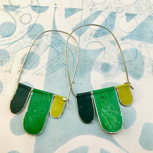 Mixed Greens Arched Upcycled Tin Dangle Earrings