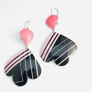 80s Soft Pink Lines on Black Trefoil Upcyled Tin Earrings