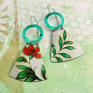 Green Leaves Red Flower Small Fan Tin Earrings