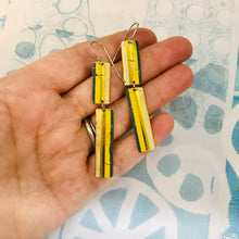 Load image into Gallery viewer, Golden Long Striped Pattern Recycled Tin Earrings