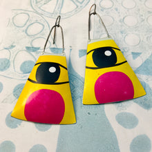 Load image into Gallery viewer, Cats Eye Upcycled Tin Long Fans Earrings
