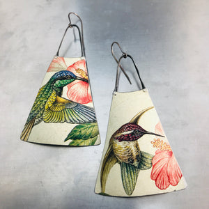 Hummingbirds Zero Waste Tin Long Fans Earrings