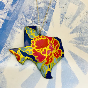 Big Red Blossom Texas Recycled Tin Necklace