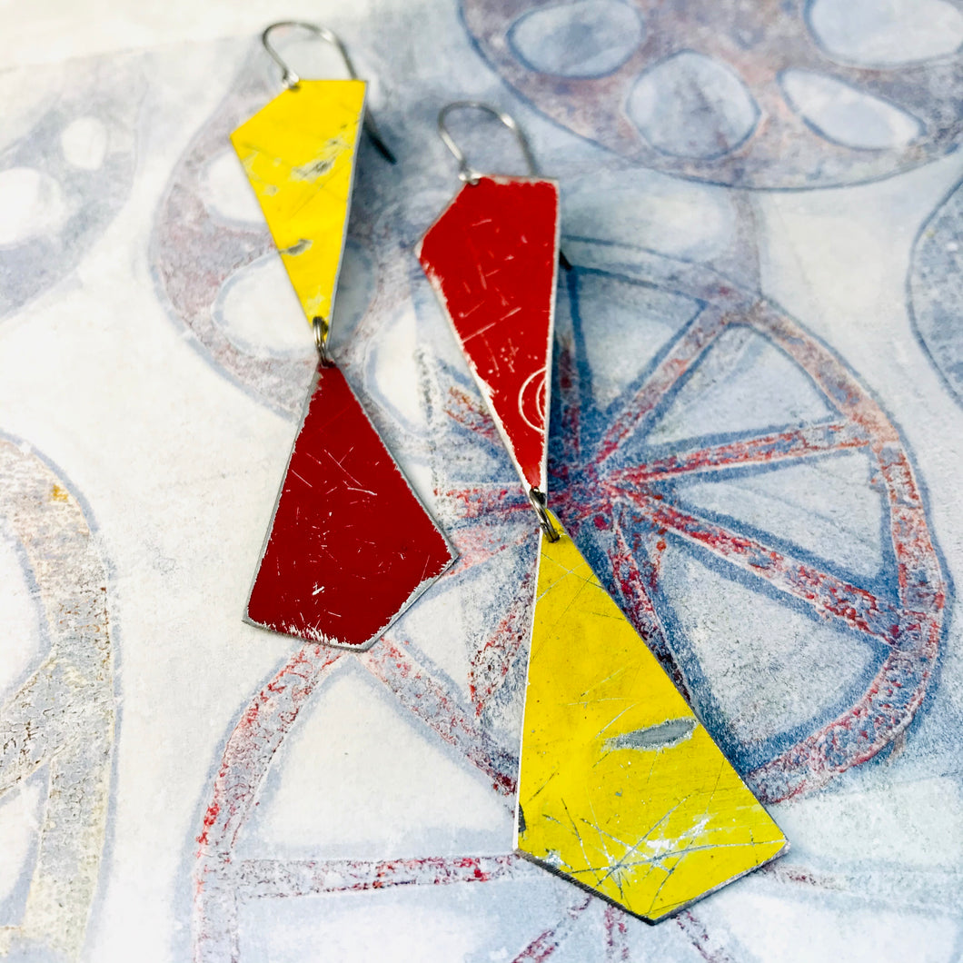 Goldfinch and Cardinal Narrow Kites Recycled Tin Earrings