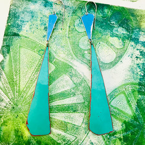 Bright Blue & Long Turquoise Narrow Kites Recycled Tin Earrings