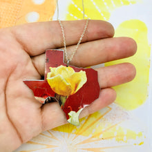 Load image into Gallery viewer, Yellow Rose of Texas Upcycled Tin Necklace