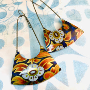 Fiery Leaves on Deep Cobalt Recycled Tin Earrings