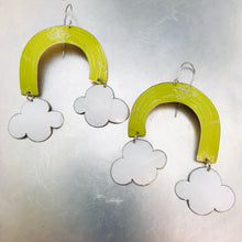 Load image into Gallery viewer, Celery Green Etched Rainbows with Puffy Clouds Upcycled Tin Earrings