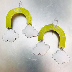 Celery Green Etched Rainbows with Puffy Clouds Upcycled Tin Earrings