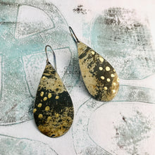 Load image into Gallery viewer, Oxidized and Gold Leaf Upcycled Teardrop Tin Earrings