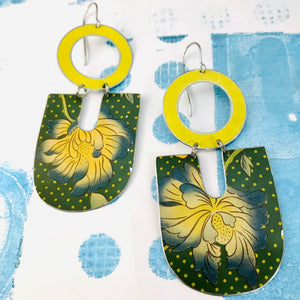 Big Blue Tipped Blossoms Chunky Horseshoes Zero Waste Tin Earrings