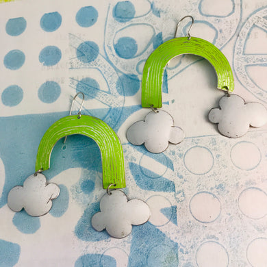 Chartreuse Green Etched Rainbows with Puffy Clouds Upcycled Tin Earrings